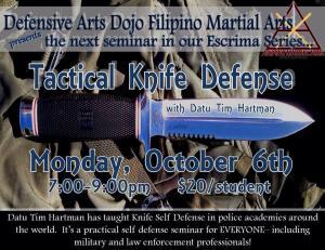 Tactical Knife Defense with Datu Hartman @ Defensive Arts Dojo | Hamburg | New York | United States