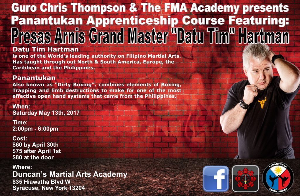 "Panantukan Apprenticeship Course featuring GM ""Datu Tim"" Hartman @ Duncan's Martial Arts Academy 