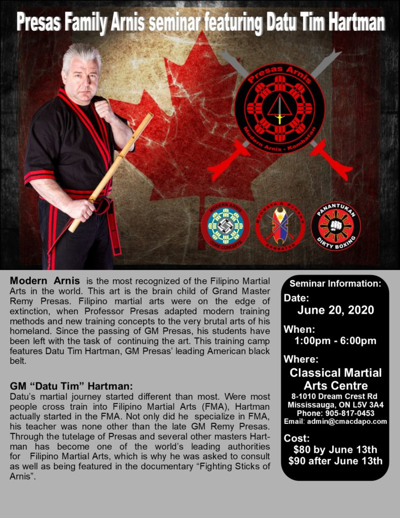 Presas Family Arnis seminar featuring Datu Hartman @ Classical Martial Arts Centre Mississauga